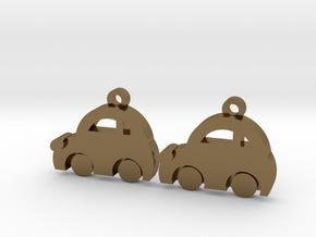 Minicooper Earrings in Polished Bronze