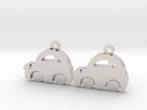 Minicooper Earrings in Rhodium Plated Brass