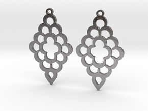 Diamond Shaped Shaped Earrings in Polished Nickel Steel