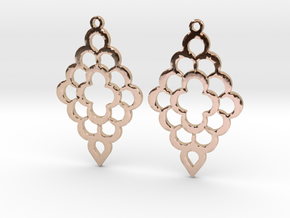 Diamond Shaped Shaped Earrings in 14k Rose Gold Plated Brass