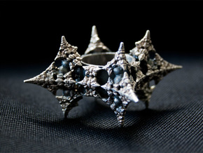 Dragon Fractal Ring 21mm in Natural Silver