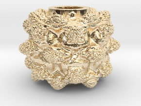 MandelBulb Power8 OM Particle in 14K Yellow Gold