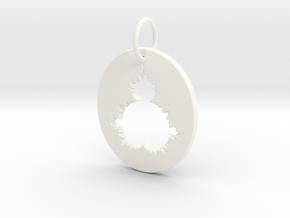Mandelbrot Pendant in White Processed Versatile Plastic