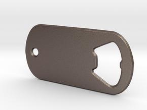 Battlefield Inspired Bottle Opener Dog Tag in Polished Bronzed Silver Steel