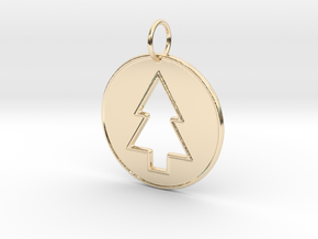 Gravity Falls Pine Tree Pendant in 14k Gold Plated Brass