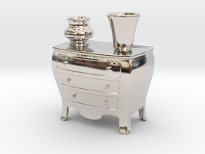 Dresser Pen Holder Or Place Card in Rhodium Plated Brass