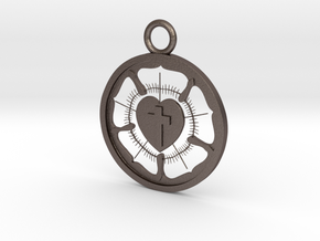 Lutheran Pendant in Polished Bronzed Silver Steel