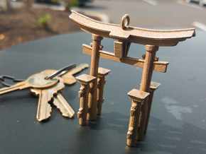Torii Gate Pendant / Keychain in Polished Bronzed Silver Steel