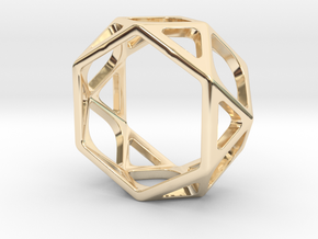 Structural Ring size 5 in 14k Gold Plated Brass