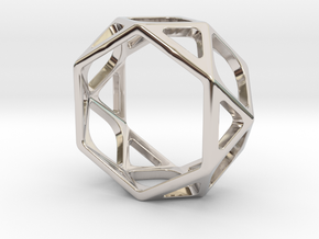Structural Ring size 6 in Rhodium Plated Brass