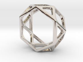 Structural Ring size 6,5 in Rhodium Plated Brass