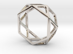 Structural Ring size 8,5 in Rhodium Plated Brass