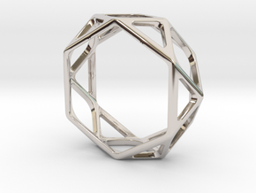 Structural Ring size 12,5 in Rhodium Plated Brass