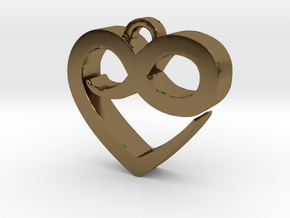 Infini Heart Necklace in Polished Bronze