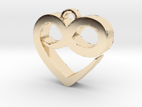 Infini Heart Necklace in 14k Gold Plated Brass