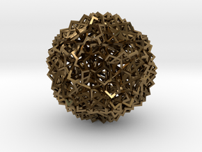 30 Cube Compound, open, small in Polished Bronze