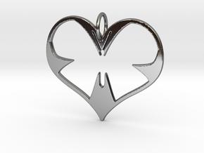 Butterfly Heart in Fine Detail Polished Silver