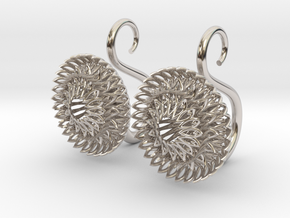 Plugs / gauges/ The Sunflowers 8g ( 3.2 mm) in Rhodium Plated Brass