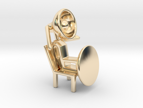 Lala - Relaxing in chair - DeskToys in 14k Gold Plated Brass