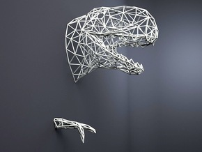 T-rex wall SMALL in White Natural Versatile Plastic