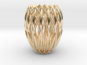 Basket Candlestick 4.5cm in 14k Gold Plated Brass