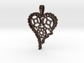 Steam Punk Gear Heart in Polished Bronze Steel
