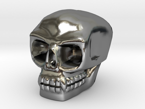 Skull bead (Top threading) in Polished Silver