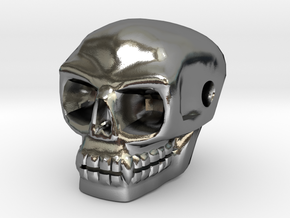 Skull bead (Side threading) in Polished Silver