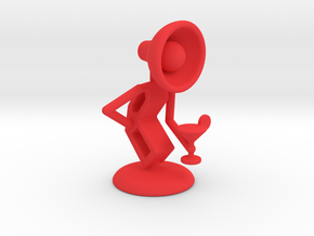 Lala with Wine Glass - DeskToys in Red Strong & Flexible Polished