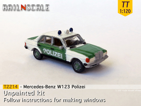 Mercedes-Benz W123 Polizei (TT 1:120) in Smooth Fine Detail Plastic