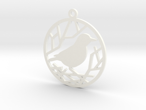 Christmas tree ornament - Bird in White Processed Versatile Plastic
