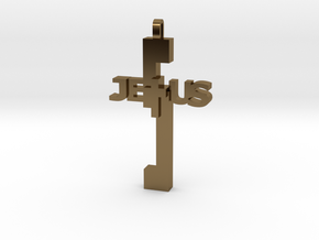 Jesus Pendant in Polished Bronze