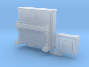 28mm/32mm Upright Piano and stool  in Smooth Fine Detail Plastic