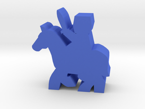 Great-helm Knight Meeple, on running horse in Blue Processed Versatile Plastic