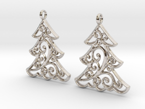 Christmas Tree Earrings in Rhodium Plated Brass