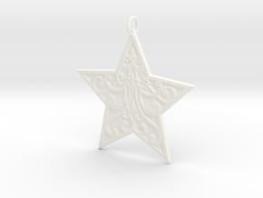 Christmas Star Ornament in White Processed Versatile Plastic