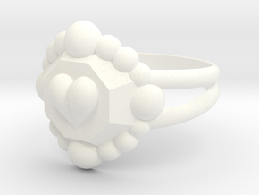 Size 8 Diamond Heart Ring E in White Processed Versatile Plastic