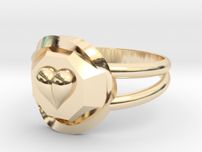 Size 9 Diamond Heart Ring F in 14k Gold Plated Brass