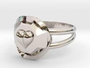 Size 9 Diamond Heart Ring F in Rhodium Plated Brass