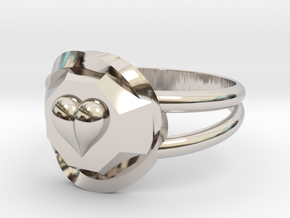 Size 10 Diamond Heart Ring F in Rhodium Plated Brass