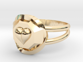 Size 10 Diamond Heart Ring F in 14K Yellow Gold