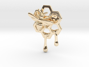 Honey Comb Charm Version 2 in 14K Yellow Gold