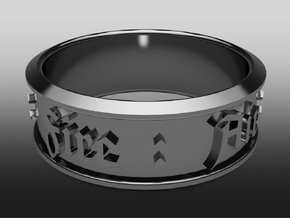 Ring old english - Fire : Air : Water : Earth in Polished Bronzed Silver Steel