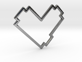 Pixel Heart Pendent - Diva Style - 1 INCH in Fine Detail Polished Silver