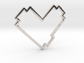 Pixel Heart Pendent - Diva Style - 1 INCH in Rhodium Plated Brass