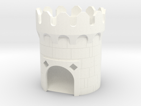 Medieval Dice Tower in White Processed Versatile Plastic