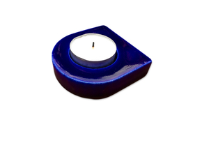 Shield Candleholder in Gloss Cobalt Blue Porcelain