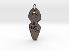 Spiral of Life Goddess Symbol Pendant in Polished Bronzed Silver Steel