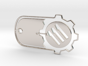 Fallout 4 Vault 111 Dog Tag in Rhodium Plated Brass