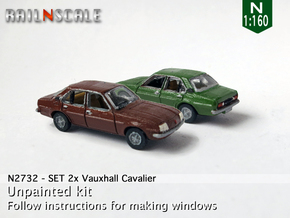 SET 2x Vauxhall Cavalier (N 1:160) in Smooth Fine Detail Plastic